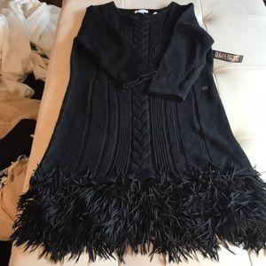 Newyork and company black sweater dress ruffle a